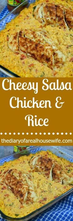 Cheesy Salsa Chicken and Rice. One of my favorite recipes! Y'all will love how simple this is to make and it taste GREAT!!