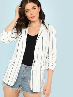 46718c88d4b1 Pin Stripe Blazer with Ruched Cuffs and Dual Pockets -SheIn(Sheinside)