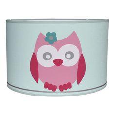 Lamp uil in mintgroen en roze babykamer kinderkamer meisje hanglamp lampenkap uilen uiltjes