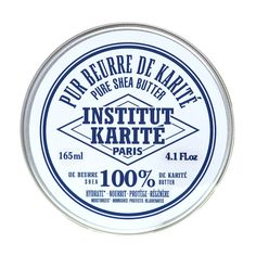 Institut Karite 100% Shea Butter For Hands, Lips, Face, Body and Hair, Fragrance Free, 165 ml