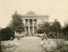 """Belmont Mansion was originally known as Belle Monte, Belle Mont or Belmont. It is a historic mansion located at 1900 Belmont Boulevard in Nashville, Tennessee on the campus of Belmont University. Today the mansion functions as a museum. This photo comes from the book """"Artwork of Nashville,"""" published in 1894. It is an extremely rare book that features some amazing photographs of buildings and scenes of nature in Nashville. http://en.wikipedia.org/wiki/Belmont_Mansion_%28Tennessee%29"""