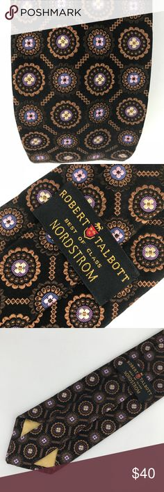 "Robert Talbott  Best of Class Silk Floral Tie Robert Talbott Best of Class Nordstrom Men's Tie   Floral Black. Beautiful combo of Pink to lavender flowers encircled in a round intricate brownish gold circle. Thick 100% Silk Made in Italy VGUC to excellent. No holes or stains.  Measurements in Inches: L 59"" X W 4"" Robert Talbott Accessories Ties"