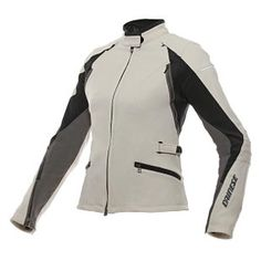Dainese Arya Women's Textile Jacket. Three season (warm) jacket with removable insulated liner, but NO waterproof liner. Adjustable waist, zippered gusset at hip. Fitted look, lightweight, 360 pant attachment, patented Dainese flex fabric (Mugello), shoulder protection, elbow protection. $320