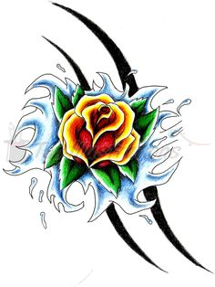Rose Tattoo Designs | rose up stream tattoo design