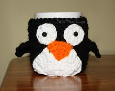 free easy Mr. Penguin Mug Cozy free crochet pattern
