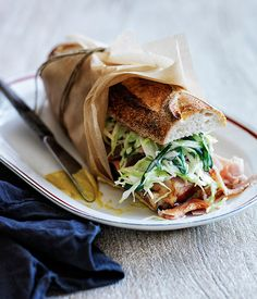 These baguette recipes are picture-perfect and picnic ready, bursting with fillings like slow-cooked beef tongue, poached egg and grilled asparagus and classic leg ham and cheese. Gourmet Sandwiches, Wrap Sandwiches, Sandwich Recipes, Picnic Sandwiches, Sandwich Ideas, Baguette Sandwich, Baguette Recipe, French Sandwich, Onigirazu
