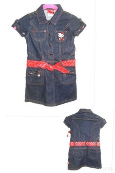 132bcaef3 HELLO KITTY Sanrio Girl's Denim Jeans Rhinestone Snap Front Dress 5/6 NWT  #fashion #clothing #shoes #accessories #kidsclothingshoesaccs ...