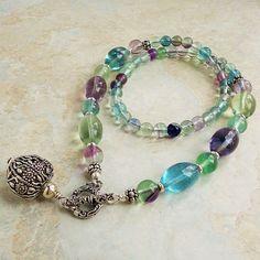 Rainbow Fluorite Necklace with Artisan Metal by mamisgemstudio