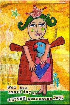 "Autism Support Saying.  ""For Her, Every Day is Autism Awareness Day."" ART MAGNET for Moms. LadyBird. Allison Strine.. $6.00, via Etsy."