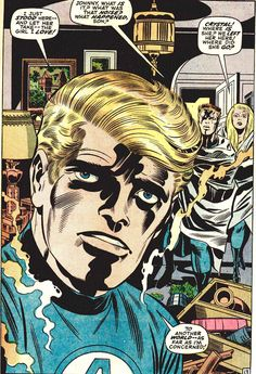 Johnny Storm close up - art by Jack Kirby Comic Book Artists, Comic Artist, Comic Books Art, Dc Comics, Fantastic Four Marvel, Jack Kirby Art, Human Torch, Classic Comics, Comic Page
