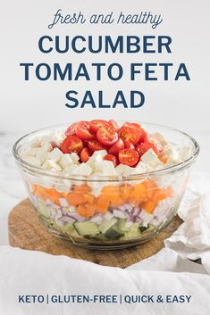 This Cucumber Tomato Feta Salad makes for the perfect healthy side dish to your main or can be enjoyed on its own as a light lunch! Ready in under 10 minutes using just 5 ingredients, it's super easy to throw together at the last minute. A keto-friendly and gluten-free recipe the whole family will enjoy! #cucumbersalad #cucumbertomatosalad #cucumbertomatofetasalad #sidedishsalads Gluten Free Sides Dishes, Low Carb Side Dishes, Healthy Side Dishes, Side Dish Recipes, Veggie Recipes Healthy, Keto Recipes, Healthy Salads, Free Recipes, Salad Recipes