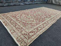 4X8 RUG, Turkish vintage rugs, Faded red rug, Area rug, Medium rug for the room, Wool Oushak rug, Bohemian rug, Oriental rug, Natural carpet
