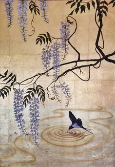 Wisteria and Barn Swallow signed giclee print artwork, wall art, decor accessory, bird art, gold leaf painting Japanese Art Styles, Traditional Japanese Art, Traditional Paintings, Traditional Landscape, Japanese Patterns, Traditional Tattoo, Watercolor Artists, Watercolor Bird, Asian Artwork