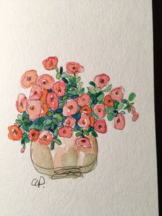 Petunias Watercolor Card / Hand Painted Watercolor by gardenblooms