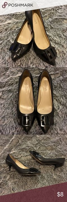 """Ellen Tracy Black Harley Heels 6M Pre-loved condition. Black Patent Leather Harley Heels by Ellen Tracy with pointy toe and buckle detail. Size 6M. 3"""" heel. No box. Ellen Tracy Shoes Heels"""