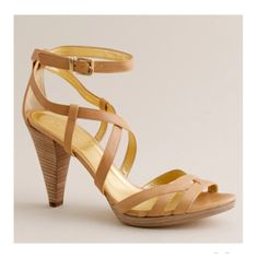 "J. Crew nude Candace leather heels In smooth Italian napa leather, with a leg-lengthening wooden platform heel, this shoe can go dressy or casual. Adjustable ankle strap, 3"" heel with .5"" platform. Made in Italy. Great condition! J. Crew Shoes Heels"