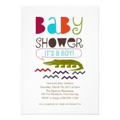Alligator Baby Shower Invitations. These Baby Shower invitations are great for an animal or jungle theme