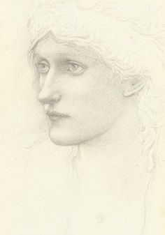 Edward Burne-Jones - Study for the head of a Queen in 'Arthur in Avalon'