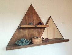 Wood Mountain Wall Shelf Mountain Mirror Wooden Mountains Mountain Decor Rustic Wooden Shelf SIZE: Height: highest mountain 40 cm, lower mountain 28 cm Width: bottom width 60 cm, top shelf width You can choose the color of the frame, as well a Rustic Wooden Shelves, Wooden Wall Decor, Wooden Diy, Wood Home Decor, Wooden Home, Diy Wood Shelves, Wood Wall Shelf, Rustic Decor, Farmhouse Decor