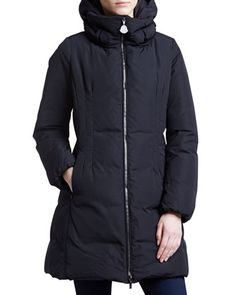 Long Puffer Coat with Hood, Black by Moncler at Bergdorf Goodman.