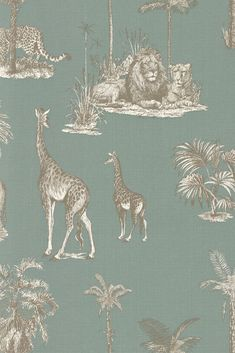 Inspired by the Century's fascination with all things exotic, this is a beautiful wallpaper design featuring a selection of African animals with palm trees. Hallway Wallpaper, Feature Wallpaper, Tree Wallpaper, Animal Wallpaper, Grey Jungle Wallpaper, Quirky Wallpaper, Beautiful Wallpaper, African Babies, African Animals