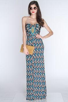 Put yourself out there in this sexy and stylish maxi dress. No matter the occasion youll sure be center of attention. Pair it with your favorite heels and jewelry for a complete look! It features printed design, strapless, sweetheart neckline, light padded, beaded, ruched center, and fitted.