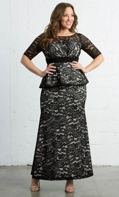 c56e759ed8df6 Feel like the belle of the ball in our Astoria Lace Peplum Gown. Take a  look at this classic plus size peplum gown with a modern twist at Kiyonna  Clothing.