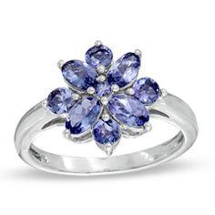 Tanzanite Flower Ring in Sterling Silver