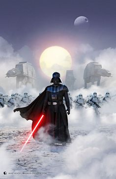 ArtStation - Star Wars - Imperial March mike heath with Darth Vader and Stormtroopers Star Wars Film, Star Wars Fan Art, Star Wars Darth, Star Wars Logos, Star Wars Poster, Wallpaper Darth Vader, Dark Side, Star Wars Brasil, Anakin Vader