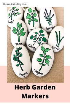 This set of 10 hand-painted rocks feature herbs and make great garden markers! The small set can be used as story stones. Great gift for gardeners! #herbgarden #gardenmarkers #herbs #paintedrocks Pebble Painting, Pebble Art, Stone Painting, Painting Rocks For Garden, Story Stones, Herb Markers, Hand Painted Rocks, Painted Garden Rocks, Painted Pebbles