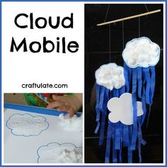 These cloud mobile is made from card, cotton wool balls and crepe paper. Great activity for teaching children about different kinds of weather.
