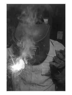 Manzanar Welder by Ansel Adams WWII 1943 photo of a welder at the Manzanar Relocation Center, California, WWII Black And White Landscape, Black White, Japanese American, Ansel Adams, Landscape Photographers, Black And White Photography, Framed Artwork, Wall Art, Find Art