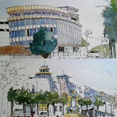 Sketches that I did at Johorsketchers monthly sketchwalk august 15, Jalan Dato Onn Johor Bahru.  #johorsketchers #klsketchnation #urbansketching #usk #urbansketchers #archilovers #arch