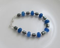 Blue Agate and Hematite Bracelet Gemstone Bracelet Handmade Gifts for Women Birthday Gifts Mother's day Gifts Anniversary Gifts by AwfyBrawJewellery on Etsy
