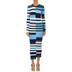 aeb6d2231f4 Opening Ceremony Women s Striped Knit Fitted Maxi Dress ( 475) ❤ liked on  Polyvore featuring dresses