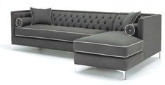 Ginebra Sectional Sofa by 22 Bond Street.  Tufted back with bench seat cushions and chrome legs.