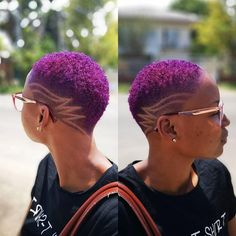 🔥🔥💣💜💜 by Located in Guyana Rocked by Queen ______________________________________⠀ To be considered… Natural Hair Short Cuts, Short Natural Haircuts, Tapered Natural Hair, Short Hair Cuts, Natural Hair Styles, Short Shaved Hair, Shaved Natural Hair, Modern Haircuts, Short Hair Designs