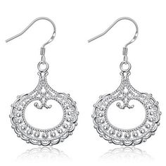 #RoseGal.com - #RoseGal Pair of Round Shape Hollow Out Silvered Plated Drop Earrings - AdoreWe.com