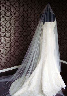 "108"" inch Width- Cathedral Drop Silk Tulle Blend Veil with Long Blusher by IHeartBride V-MS291"
