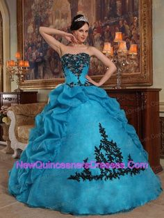 Discount-Blue-Quinceanera-Dress-Strapless-Taffeta-and-Organza-Beading-and-Pick-ups-Ball-Gown-830