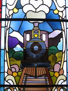 stained glass - train