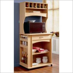Time for the microwave to stop hogging counter space. Kitchen Microwave Cabinet, Microwave Table, Microwave Stand, Wood Pallet Furniture, Woodworking Furniture, Furniture Design, Woodworking Plans, Woodworking Joints, Kitchen Dinning Room