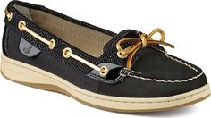 Sperry Top-Sider Angelfish Holiday Boat Shoe - Black Leather - FREE Shipping & Exchanges | Shoebuy.com
