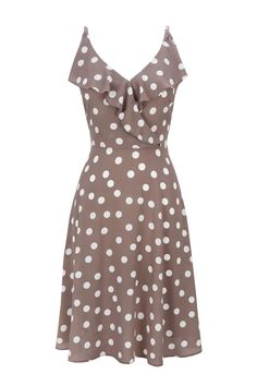 Taupe Spot Frill Dress - Wallis Europe