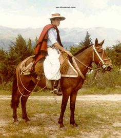 Argentinian Gaucho on horseback with over the shoulder poncho