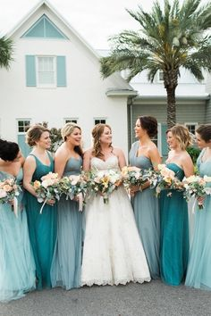 Shades of Blue Bridesmaid Dresses https://www.thecelebrationsociety.com/weddings/turquoise-coastal-inspired-wedding-atlantic-beach-country-club-atlantic-beach-fl/