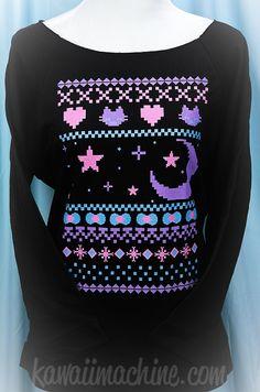 Ugly Sweater Kawaii Wideneck Sweatshirt Fairy by thekawaiimachine