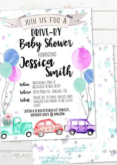 DRIVE BY Baby Shower Invitation - Watercolor Gender Neutral - Drive Through Shower - Customizable Invite Baby On The Way, Mom And Baby, Wishes For Baby Cards, Virtual Baby Shower, Having A Baby Boy, Up Balloons, Before Baby, Summer Baby, Baby Shower Invitations