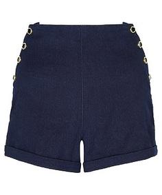 Blue (Blue) Dark Blue Denim High Waisted Button Shorts | 266736440 | New Look