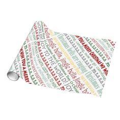 Christmas Wrapping Paper with Christmas Carol Lyrics